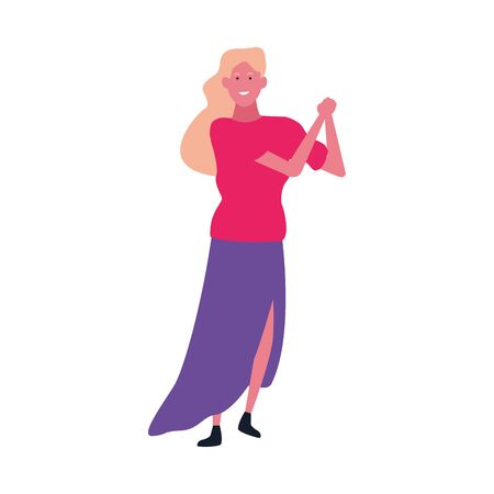 colorful design of happy woman dancing icon over white background, vector illustration
