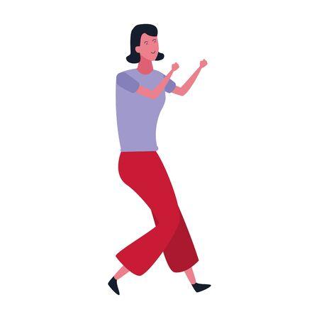 happy woman dancing icon over white background, colorful design. vector illustration Ilustração