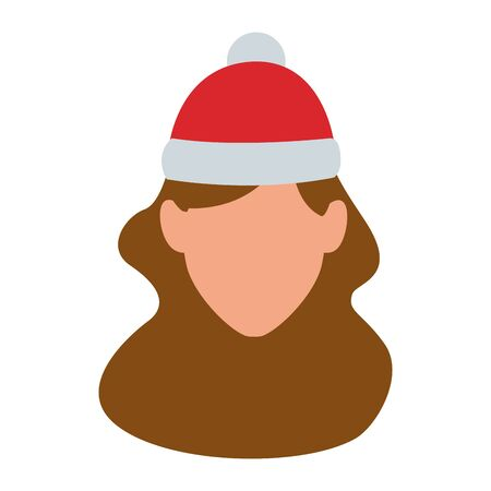 default woman with christmas hat over white background, colorful design. vector illustration Иллюстрация