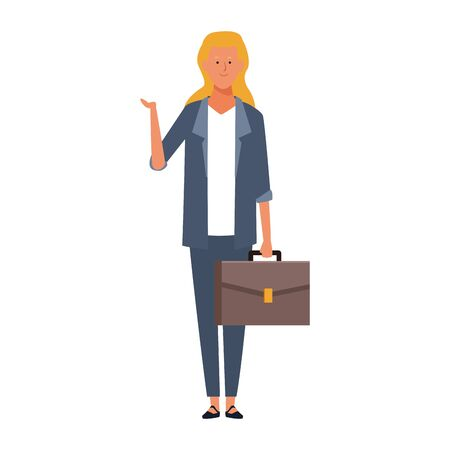 cartoon business woman with a briefcase icon over white background, vector illustration
