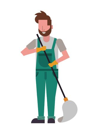 housekepping male worker with mop character vector illustration design Vettoriali