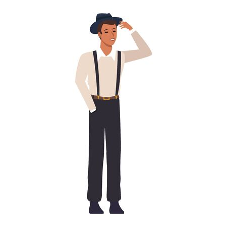 man standing wearing suspenders and hat icon over white background, colorful design. vector illustration