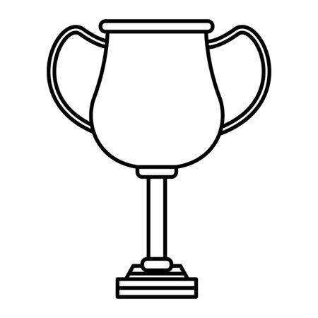 golden trophy cup icon cartoon in black and white vector illustration graphic design