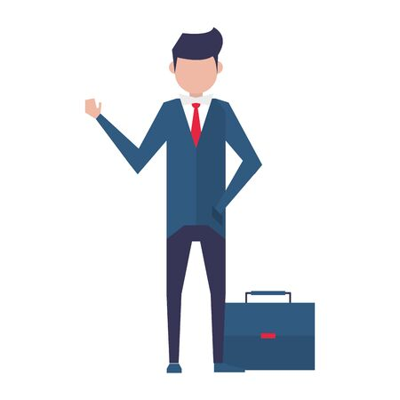 executive business finance man wearing suit and holding suitcase cartoon vector illustration graphic design Ilustração