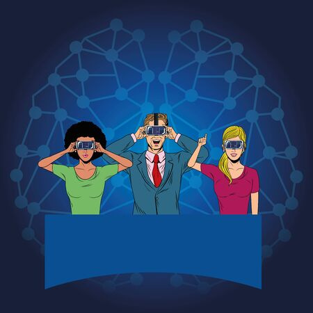group of people with virtual reality headset avatar cartoon character with neuronal conection background vector illustration graphic design Ilustracja