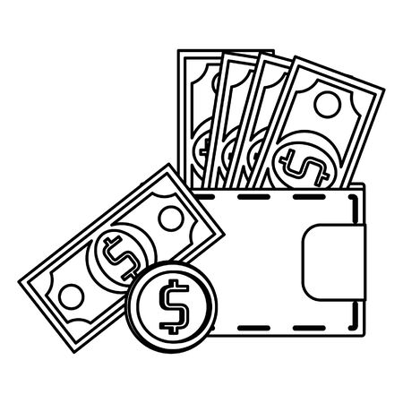 Wallet with cash and coin money symbol vector illustration graphic design Фото со стока - 137956306