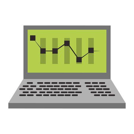 Online stock market investment laptop with statistics symbols vector illustration