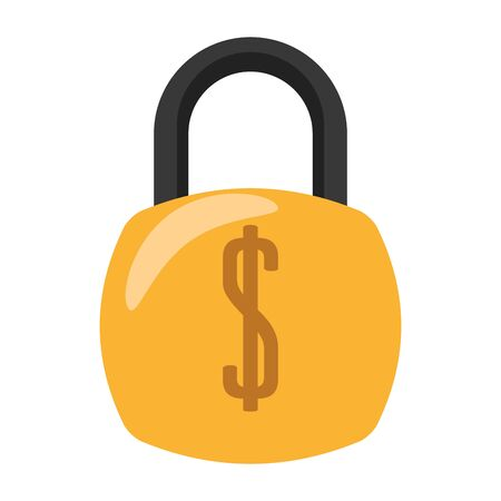 Padlock with money security symbol vector illustration