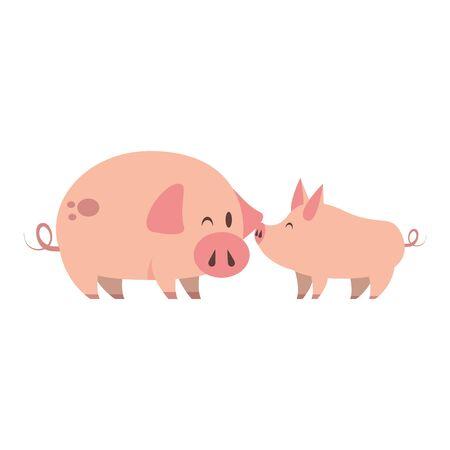 cute animals pigs farm mammal pet cartoon vector illustration graphic design Ilustracja