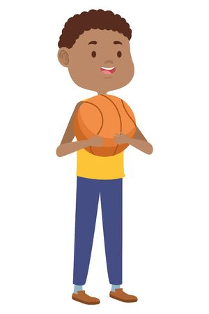 young man with balloon basketball character vector illustration design