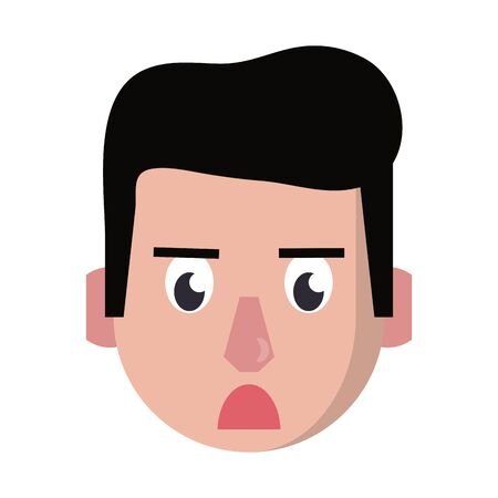 Man face angry head character cartoon vector illustration graphic design Ilustracja