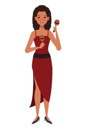 musician playing maracas avatar cartoon character vector illustration graphic design