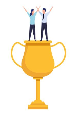 trophy cup award with business people on top icon cartoon Illusztráció