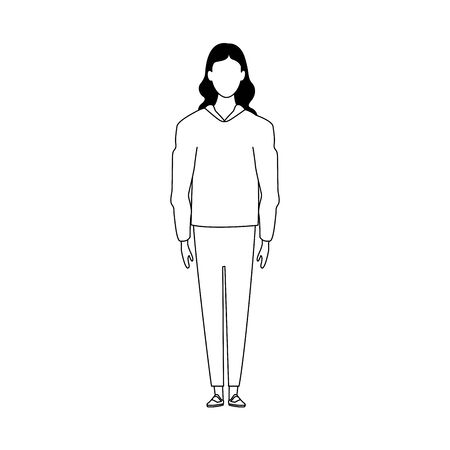 avatar woman standing icon over white background, black and white design, vector illustration