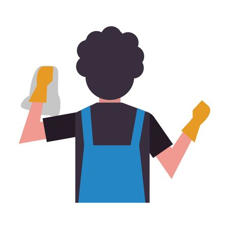 housekepping male worker with rubber gloves cleaning vector illustration design