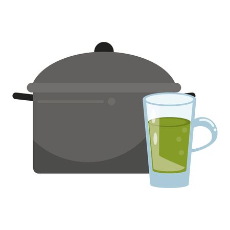 healthy and balanced food nature juice with cooking pot cartoon vector illustration graphic design