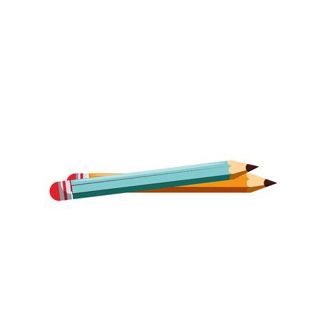 Two pencils school utensils isolated vector illustration graphic design vector illustration graphic design Ilustração