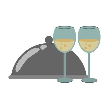covered plattered and wineglasses icon over white background, vector illustration Ilustração