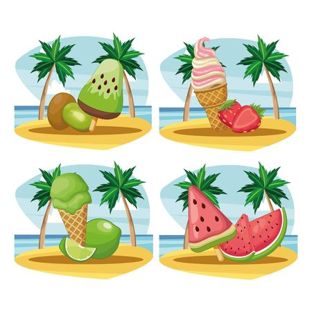 set of ice cream and ice lolly with fruit in beach landscape vector illustration graphic design