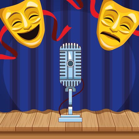 theatrical masks microphone curtain wooden floor stand up comedy show vector illustration