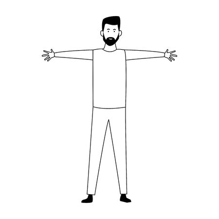 cartoon man with open arms over white background, vector illustration Ilustrace