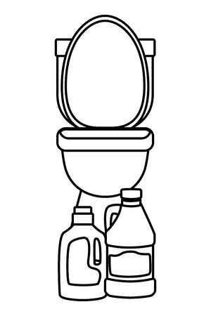 laundry wash and cleaning detergent bottle and bleach next to a toilet icon cartoon in black and white vector illustration graphic design Illustration