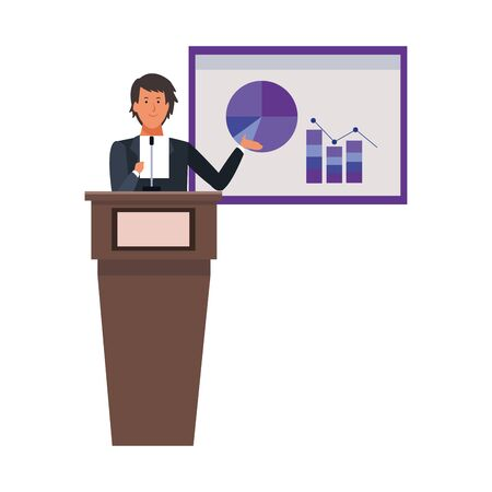 cartoon businessman Standing Behind A Podium explaining a statistical graph over white background, colorful design. vector illustration