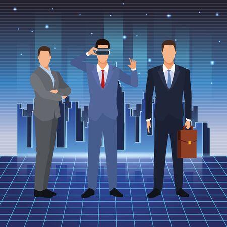 artificial intelligence technology businessmen vr glasses suitcase vector illustration