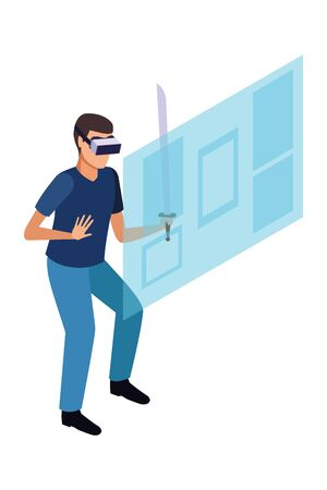 virtual reality technology, young man living a modern digital experience with headset glassesand sword cartoon vector illustration graphic design