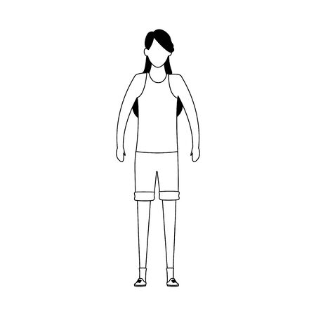 avatar woman with shorts standing icon over white background, vector illustration
