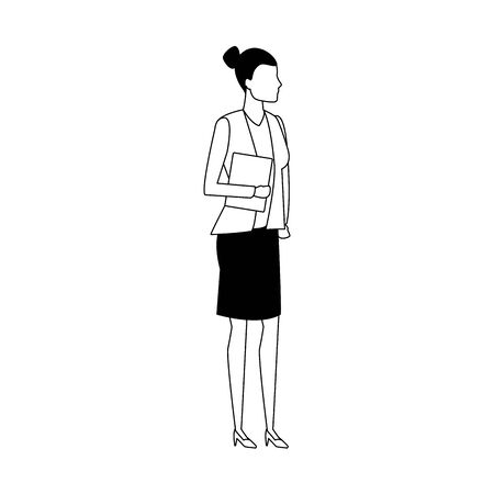 avatar business woman standing icon over white background, vector illustration Çizim