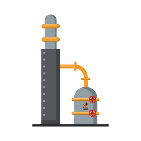 Petroleum oil refinery plant with pipes and pump vector illustration graphic design