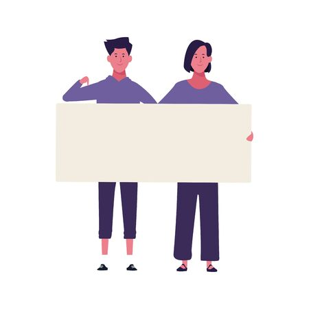 young woman and man with blank poster over white background, colorful design. vector illustration