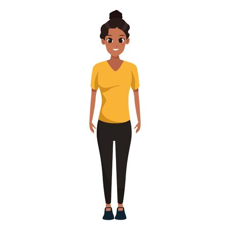cartoon woman standing and wearing casual clothes over white background, colorful design. vector illustration