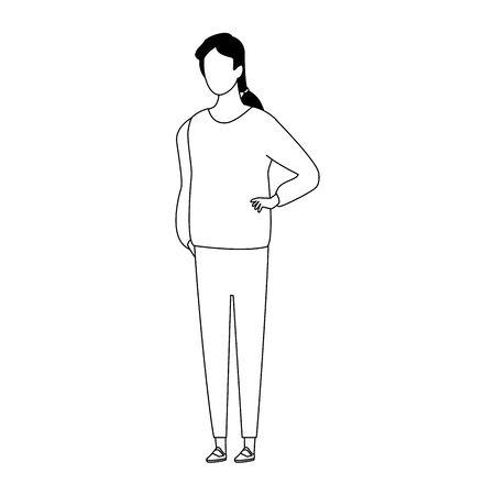 avatar woman icon over white background, flat design. vector illustration Çizim