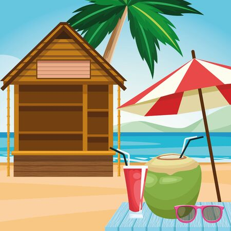log cabin and parasol with coconut drink and sunglasses at the beach, colorful design , vector illustration