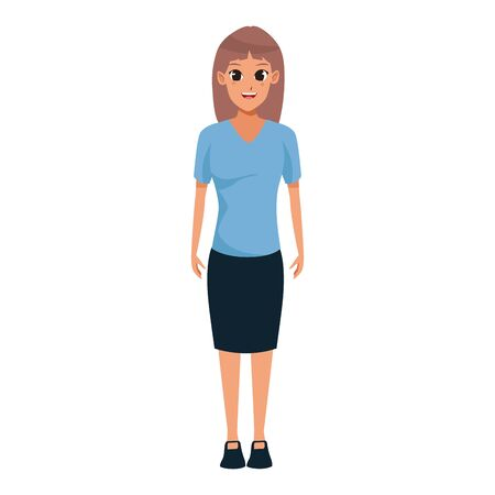 woman standing cartoon icon over white background, vector illustration