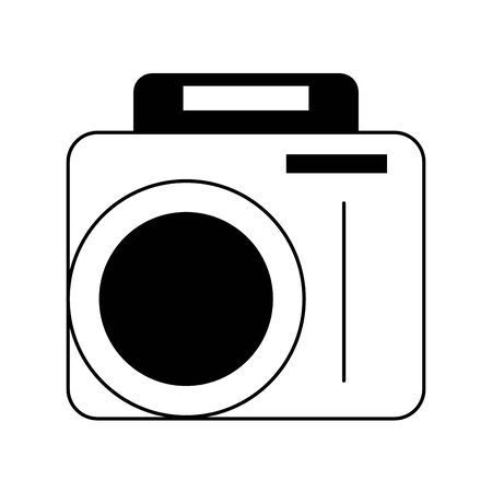 vintage camera cartoon vector illustration graphic design in black and white