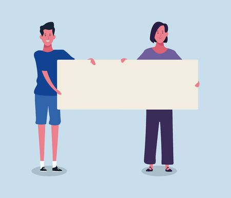 cartoon woman and man holding a blank placard over blue background, colorful design. vector illustration Çizim