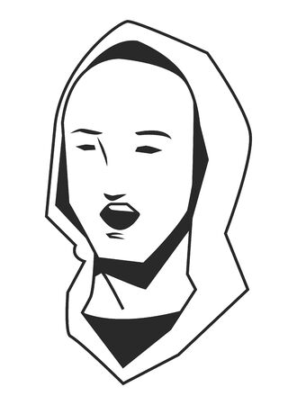 man face avatar with hoodie screaming in black and white cartoon character vector illustration graphic design Çizim