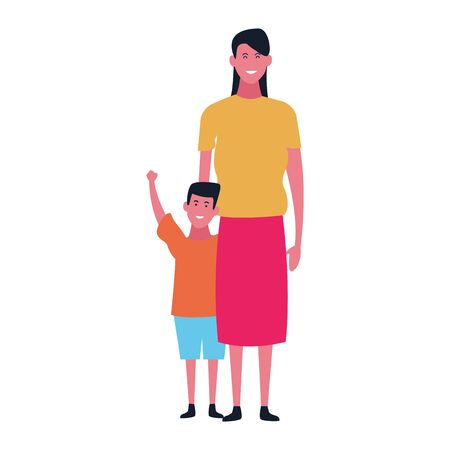 cartoon mother and daughter standing icon over white background, vector illustration Çizim