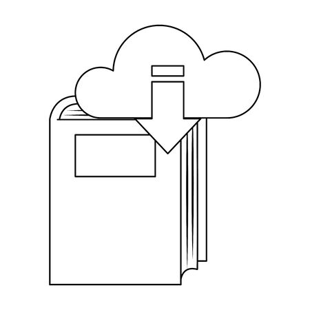 cloud storage symbol and book icon over white background, vector illustration Illustration