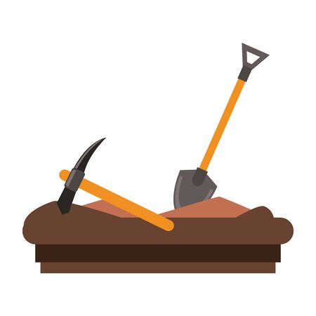 Mining pick and shovel tools work equipment vector illustration graphic design