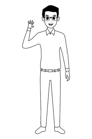 Young man greeting with formal clothes cartoon ,vector illustration graphic design.