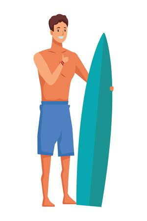 isolated and happy young men with surf table, summer vector illustration
