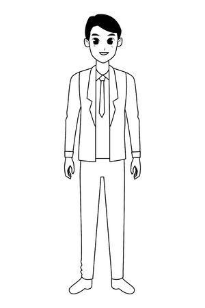 Executive businessman worker smiling cartoon ,vector illustration graphic design.