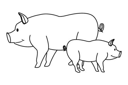 farm, animals and farmer two pig icon cartoon in black and white vector illustration graphic design