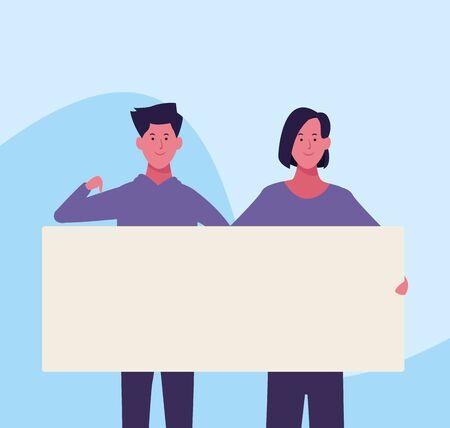 cartoon woman and man holding a blank placard over blue background, colorful design. vector illustration Ilustração