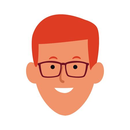 Cartoon man with glasses icon over white background, colorful design. vector illustration