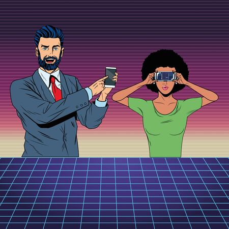 couple with virtual reality headset and cellphone avatar cartoon character with futuristic mesh background vector illustration graphic design Ilustracja